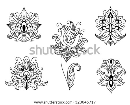Ornate calligraphic black and white floral motifs of Persian paisleys in outline style for use as design elements isolated on white - stock photo