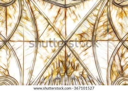 ornate cathedral ceiling fractal illustration - stock photo