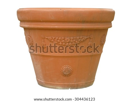 Ornate clay pot vase isolated over white background - stock photo