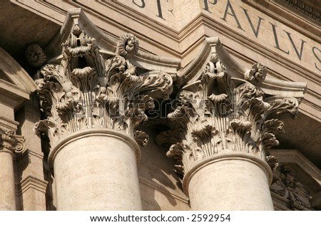 Ornate corinthian columns of St. Peter's Basilica in Vatican City - stock photo