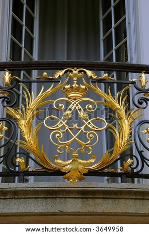 Ornate design of a balcony at the Linderhof Castle in Bavaria, Germany - stock photo