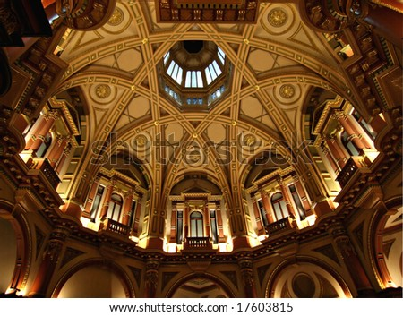 Ornate Dome Ceiling in old banking chambers - stock photo