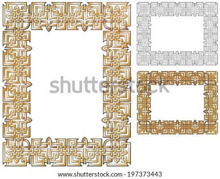 ornate gilded border with variations. - stock photo