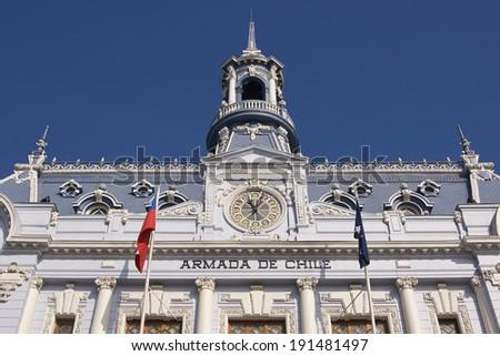 Ornate gothic style building, Comandancia Jefe de la Armada, in Plaza Sotomayor, Valparaiso, Chile - stock photo