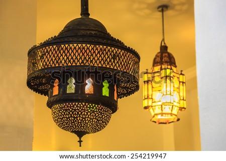 Ornate indoor Moroccan Style Lantern at Casablanca, Morocco - stock photo