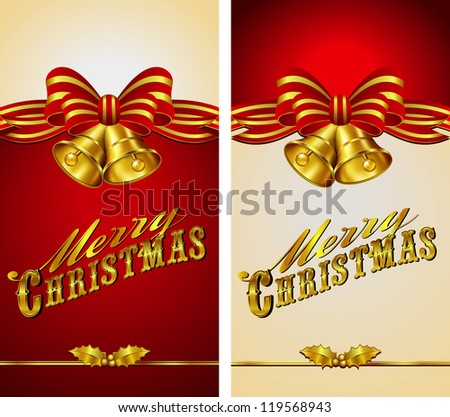Ornate Merry Christmas Menu Banner Card - Raster Version - stock photo