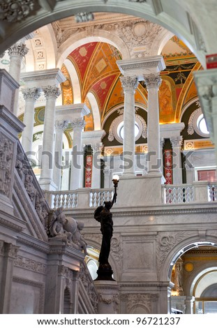Ornate painted ceiling of Library of Congress in Washington DC in Escher like format - stock photo