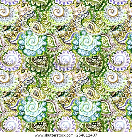 Ornate repeating background with indian ornamental design. Watercolor  - stock photo