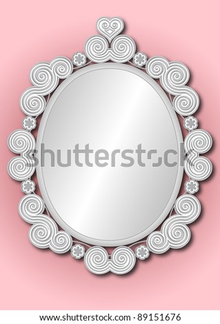 ornate silver white framed mirror on pink background - stock photo