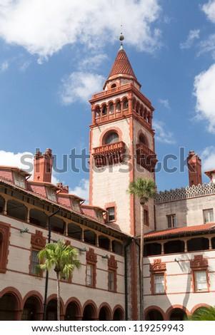Ornate tower and details of Ponce de Leon hotel now Flagler college built Henry Flagler in St Augustine Florida - stock photo