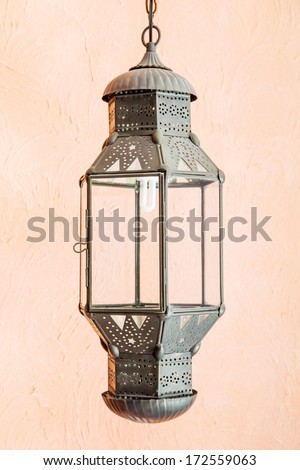 Ornate traditional moroccan lamp - stock photo