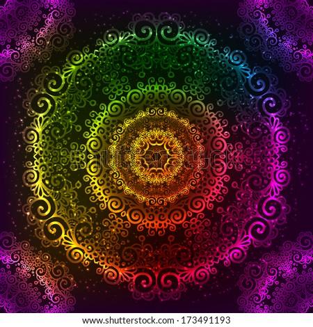 Ornate vector shining rainbow ornate neon mandala - stock photo