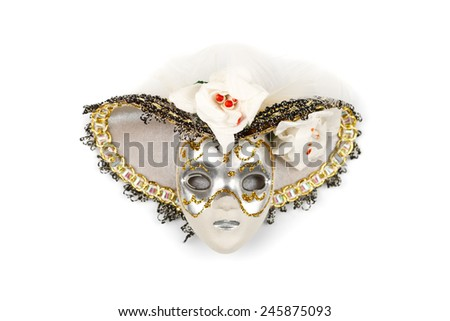Ornate Venice mask with hat isolated on white - stock photo