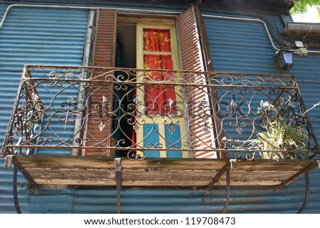Ornate Windows in La Boca - stock photo
