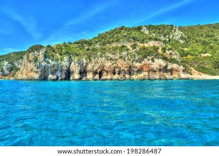 Orosei Gulf coastline in hdr tone - stock photo