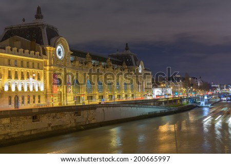 Orsay Museum of art in Paris, an ancient Parisian railway station - stock photo