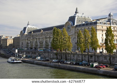 Orsay Museum, view from the right bank of the Seine river - stock photo