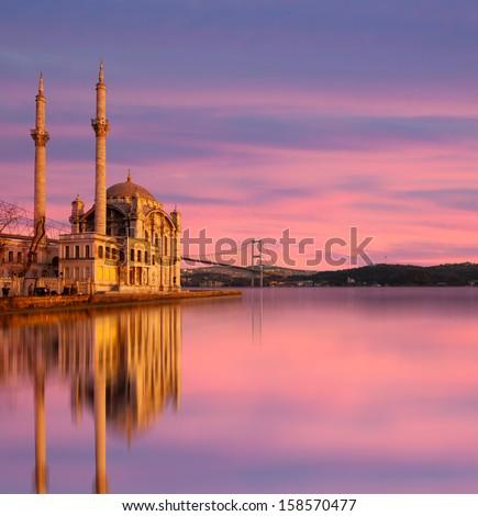 Ortakoy Mosque , istanbul Turkey  - stock photo