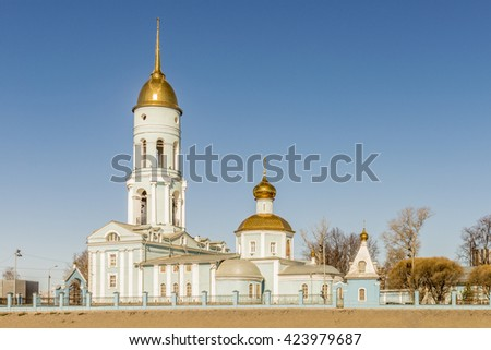 Orthodox church in the classical style in Russia near Moscow - stock photo