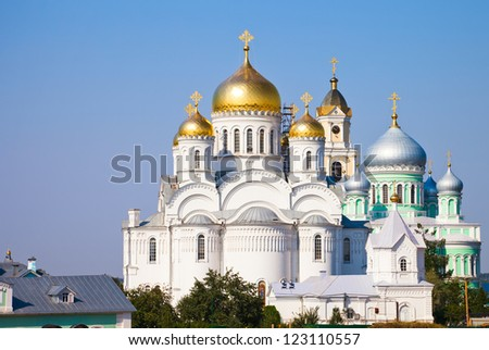 Orthodox church of a monastery in Diveevo, Russia - stock photo