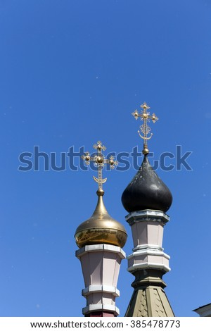 Orthodox Church of Belarus ,  the sky flies poplar fluff - stock photo