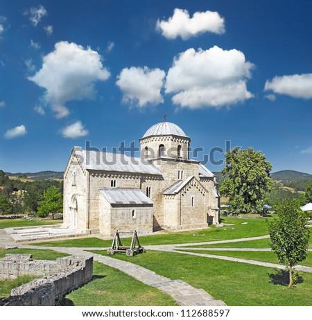 Orthodox Gradac Monastery, It is 21 km (13 mi) northwest of Raska and 12.5 km (7.8 mi) west of Brvenik. Monastery founder is Helen of Anjou. Was built in the style of the Ra�¡ka school. Serbia - stock photo