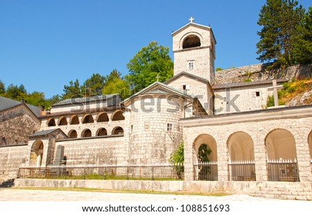 "Orthodox monastery in Cetinje, Montenegro. The monastery has a few holy relics:particle from�True Cross of Christ�, �right hand of Saint John the Baptist� and icon of holy mother of God ""Filerimosa�. - stock photo"