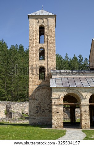 Orthodox monastery Sopocani in Serbia on a sunny day - stock photo