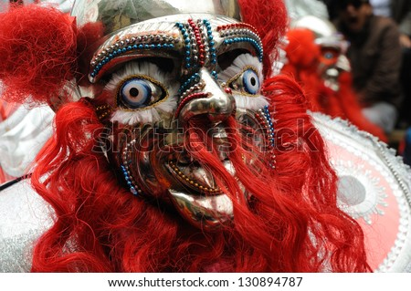 ORURO, POTOSI, BOLIVIA - FEBRUARY 9: Unidentified people participate in Oruro costume carnival on February 9, 2013 in Oruro, Potosi, Bolivia - stock photo