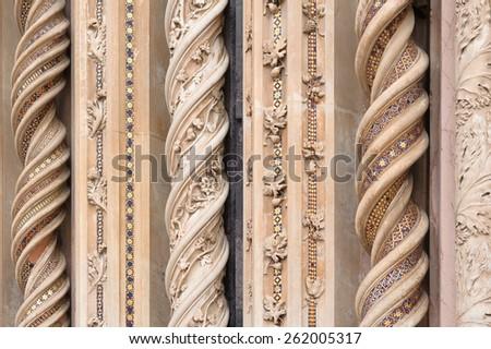 ORVIETO, ITALY - JANUARY 25, 2010: Detail of Orvieto Cathedral. Orvieto Cathedral(Duomo di Orvieto) is a Roman Catholic cathedral in Orvieto in Umbria, Italy. - stock photo
