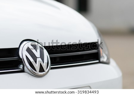 Orvieto, Italy - September 23th 2015: Close up of Volkswagen logo on a Golf 1.6 Tdi model 2015 - stock photo