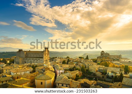 Orvieto medieval town and Duomo cathedral church landmark panoramic aerial view. Umbria, Italy, Europe. - stock photo
