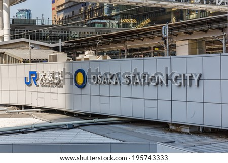 OSAKA - APR 7: JR Osaka Station on Apr 7, 14 in Osaka, Japan. It is a major railway station in the Umeda district of Kita-ku, Osaka, Japan, operated by West Japan Railway Company (JR West). - stock photo