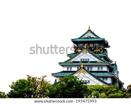 Osaka castle on white background, Osaka, Japan - stock photo