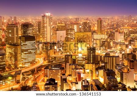 Osaka city downtown area at night. - stock photo
