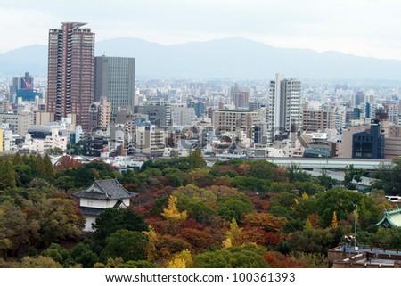 Osaka city view from Osaka Castle, Japan. - stock photo