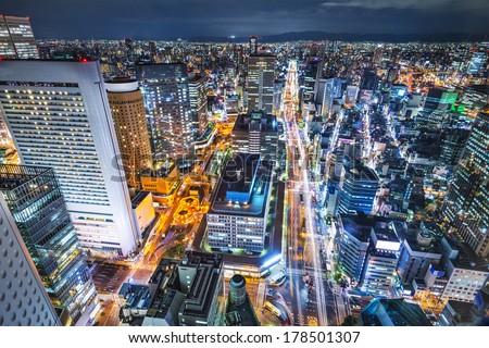 Osaka Japan aerial cityscape - stock photo