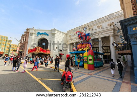 Osaka, Japan - Apr 9: Visitors entering the Spiderman ride at Universal Globe outside the Universal Studios Theme Park in Osaka, Japan on Apr 9, 2015. - stock photo
