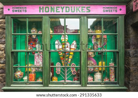 OSAKA, JAPAN - JUN 2, 2015 : Photo of HONEYDUKES , a magic homemade sweet shop replica for visitors, located in The Wizarding World of Harry Potter, Universal Studios, Osaka, Japan. - stock photo
