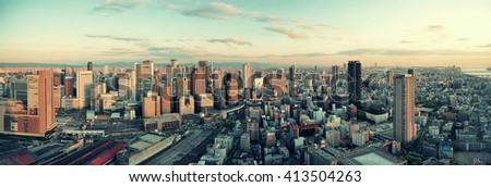 Osaka urban city rooftop view. Japan. - stock photo
