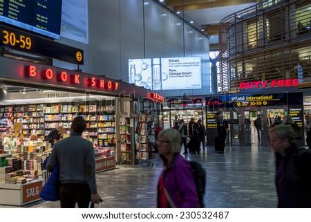 OSLO GARDERMOEN, NORWAY - NOVEMBER 3:Interior of Duty Free Shop at Oslo Gardermoen International Airport on november 3, 2014 in Oslo. The airport has biggest passenger flow in Norway. - stock photo