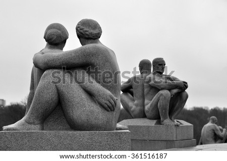 OSLO - JAN 01: - The Vigeland Park. Sculptures of Gustav Vigeland. Fragment of the Monolith composition in Oslo on January 01. 2016 in Norway - black and white photo - stock photo