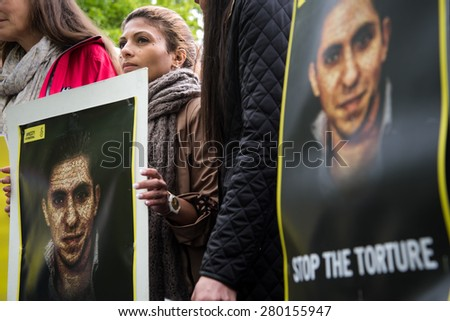 OSLO - MAY 19: Ensaf Haidar joins activists protesting at the Saudi Arabian embassy in Oslo, Norway, to demand the release of her husband, imprisoned Saudi blogger Raif Badawi, May 19, 2015.  - stock photo