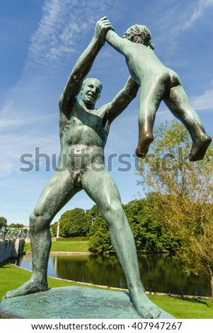OSLO, NORWAY - AUGUST 13, 2015: Sculpture of father and son by Gustav Vigeland (1869-1943) in the Vigeland Park. - stock photo
