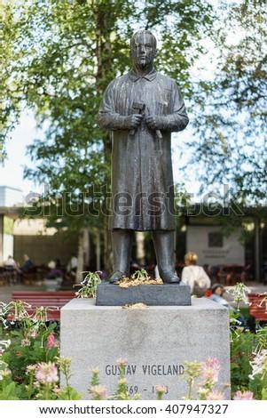 OSLO, NORWAY - AUGUST 13, 2015: Sculpture of Gustav Vigeland (1869-1943) in the Vigeland Park. - stock photo