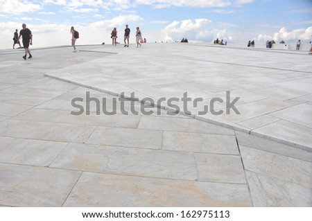 OSLO, NORWAY - AUGUST 17: View from the top of the National Oslo Opera House on August 17, 2012 in Oslo, Norway, Oslo Opera House was opened on April 12, 2008. - stock photo