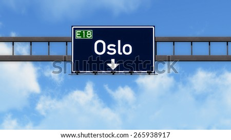 Oslo Norway Highway Road Sign - stock photo