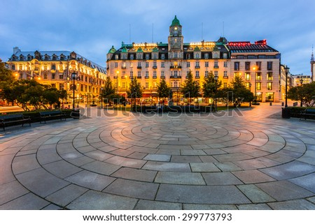 OSLO, NORWAY - JULY 13: The plaza in front of the Parliament and the Grand Hotel on July 13 2015 in Oslo, Norway. The Nobel Prize winners stay at this hotel. - stock photo