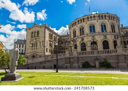 Oslo parliament has 169 members, and is elected every four years in Norway in Oslo - stock photo