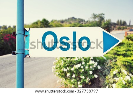 Oslo Road Sign with beautiful nature and road on background - stock photo